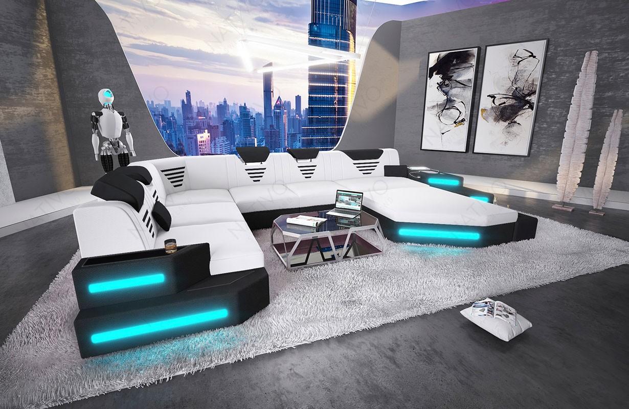 NEMESIS XXL dizájn kanapé LED világítással és USB csatlakozóval