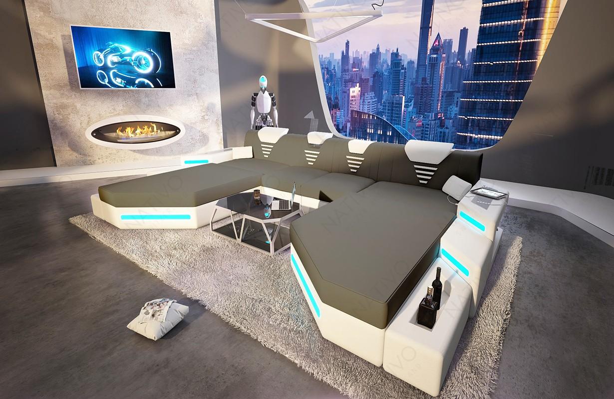 NEMESIS XXL DUO dizájn kanapé LED világítással és USB csatlakozóval