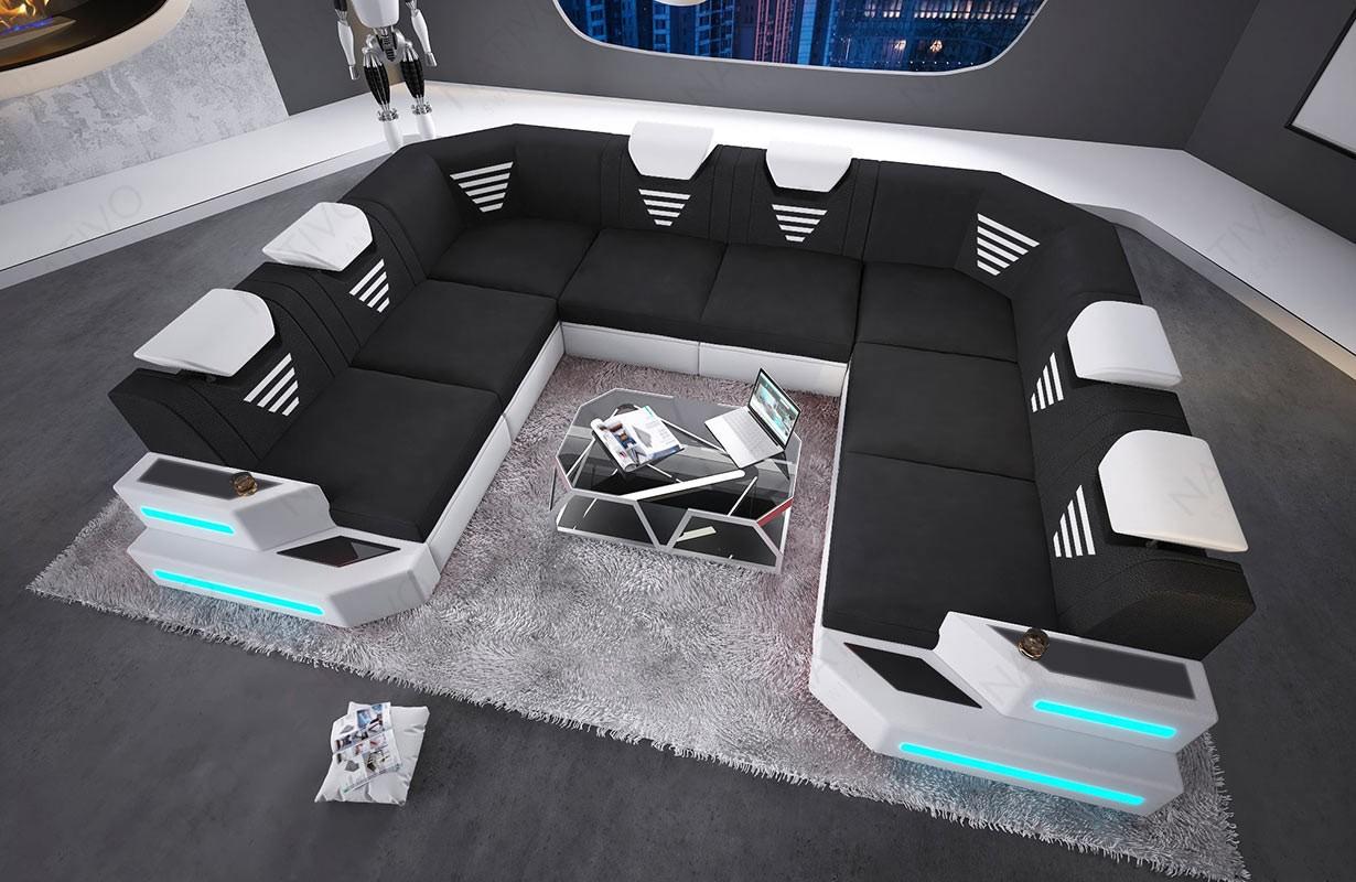 NEMESIS CORNER U FORM dizájn kanapé LED világítással és USB csatlakozóval