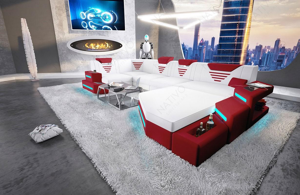 NEMESIS XL dizájn kanapé LED világítással és USB csatlakozóval