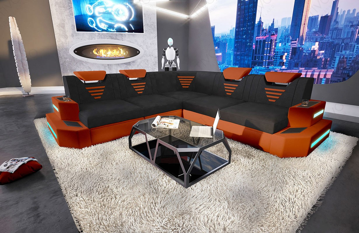 NEMESIS CORNER dizájn kanapé LED világítással és USB csatlakozóval