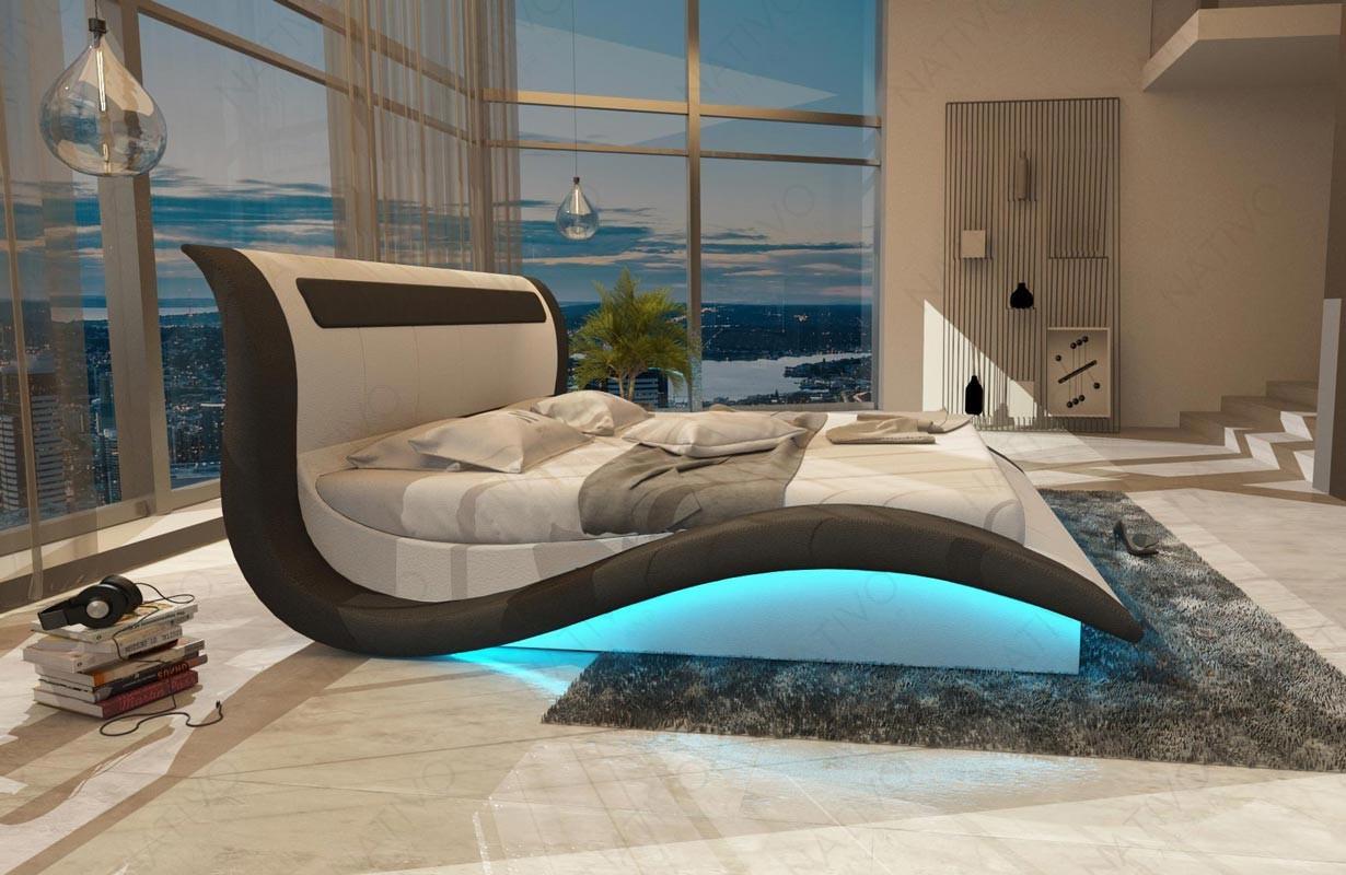 AMSTERDAM kárpitozott ágy LED világítással és USB csatlakozóval