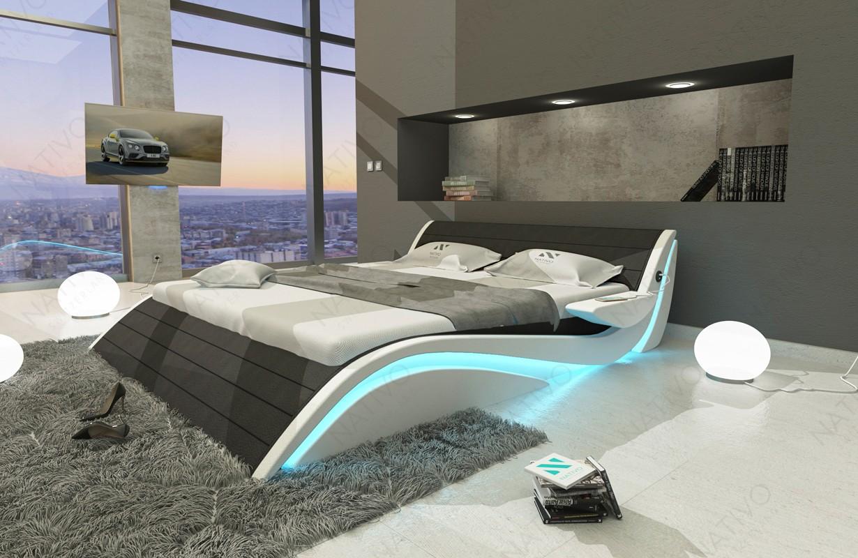 HAMBURG kárpitozott ágy LED világítással és USB csatlakozóval