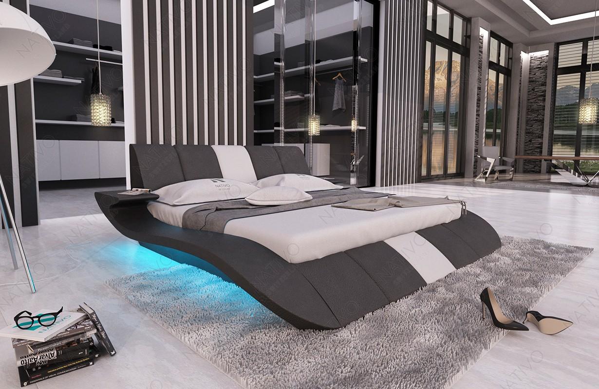 BERN V1 kárpitozott ágy LED világítással és USB csatlakozóval