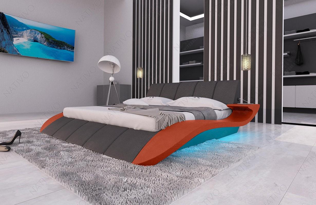 BERN V2 kárpitozott ágy LED világítással és USB csatlakozóval