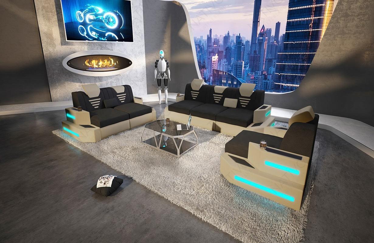 NEMESIS 3+2+1 dizájn kanapé LED világítással és USB csatlakozóval