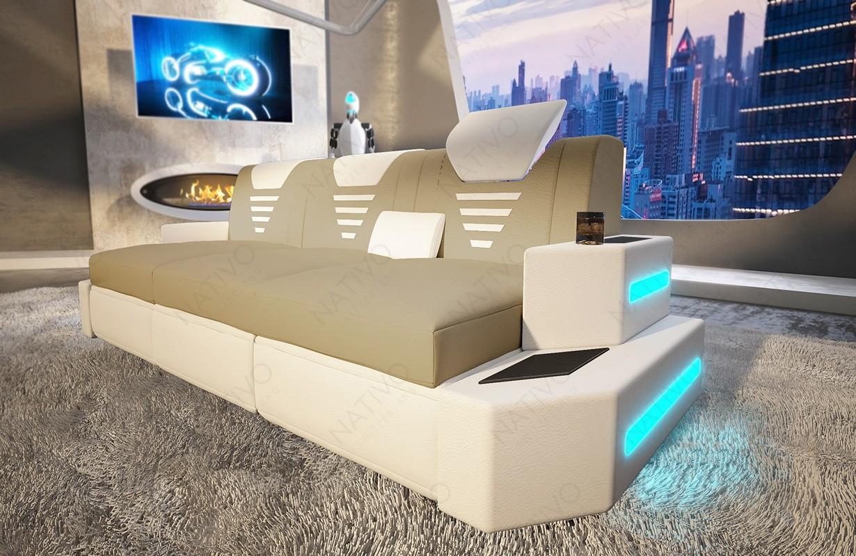 NEMESIS 3 üléses dizájn kanapé LED világítással és USB csatlakozóval