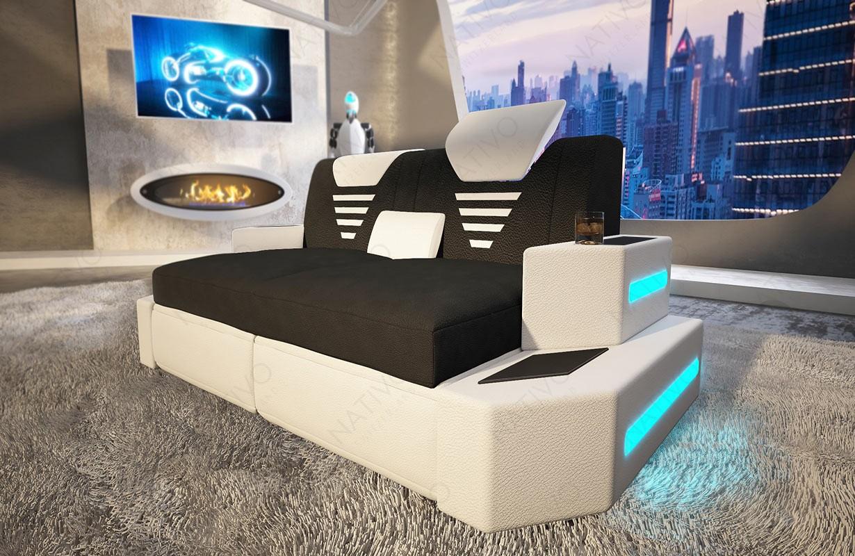 NEMESIS 2 üléses dizájn kanapé LED világítással és USB csatlakozóval