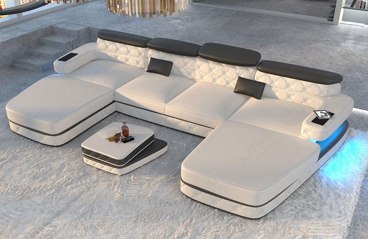 EXODUS XXL DUO dizájn kanapé LED világítással és USB csatlakozóval