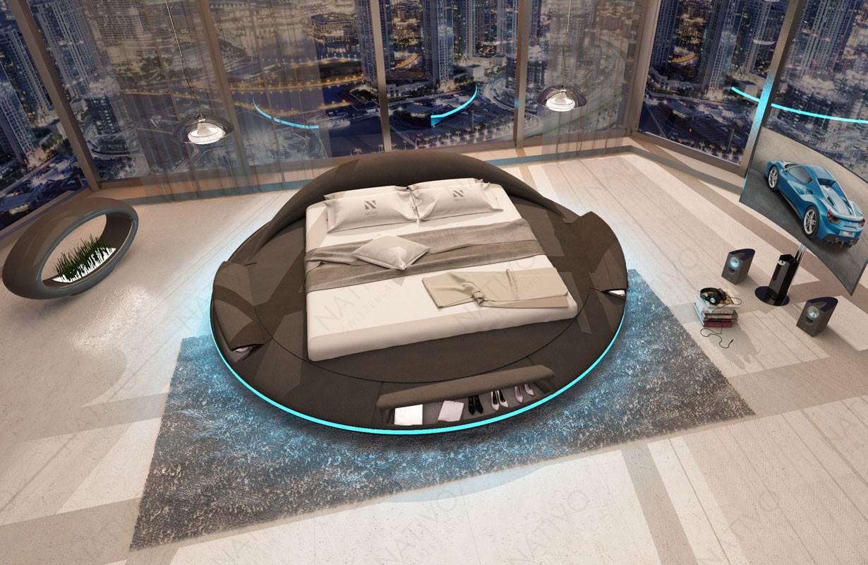 MARS kárpitozott ágy tároló funkcióval, LED világítással és USB csatlakozóval