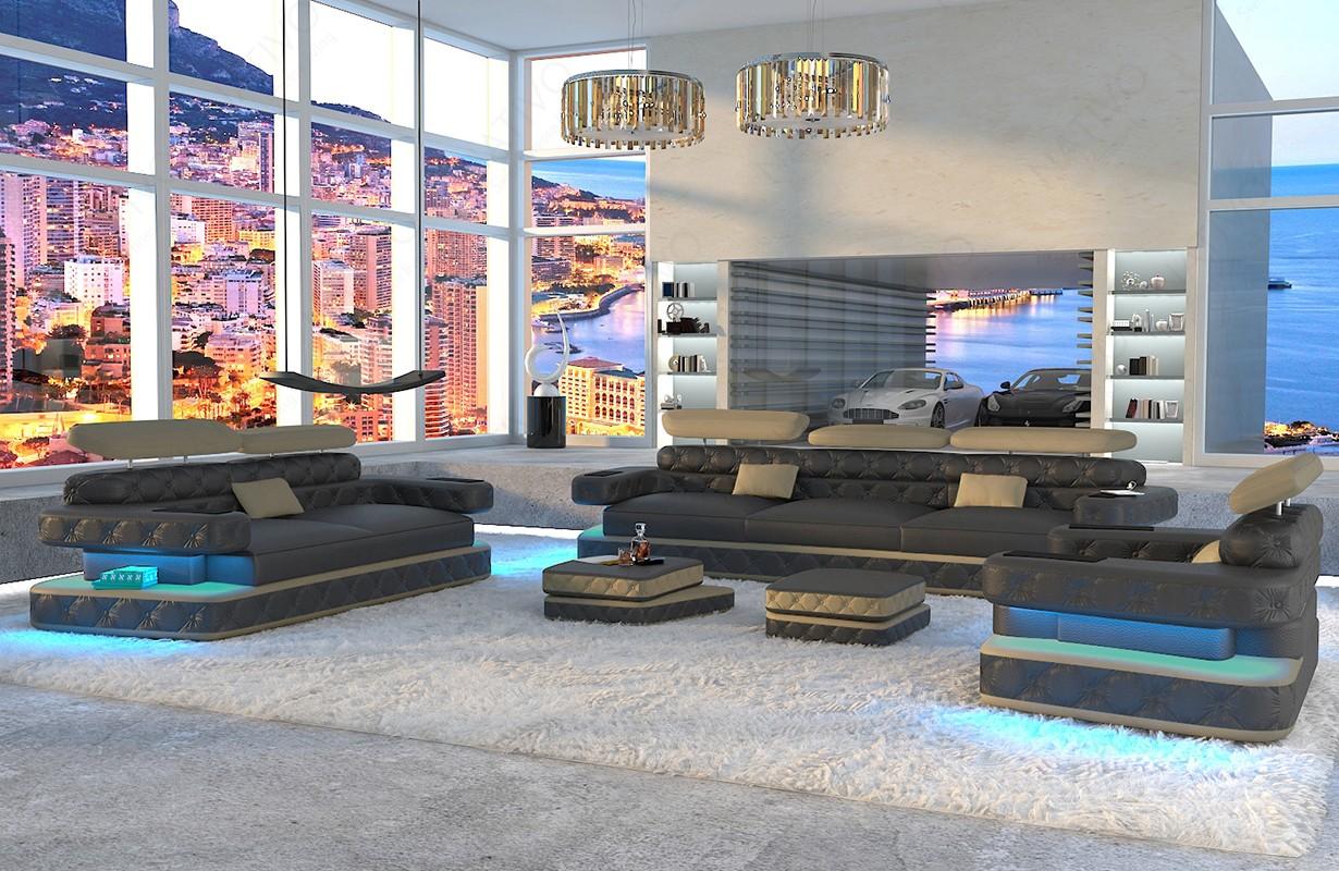 EXODUS 3+2+1 dizájn kanapé LED világítással és USB csatlakozóval