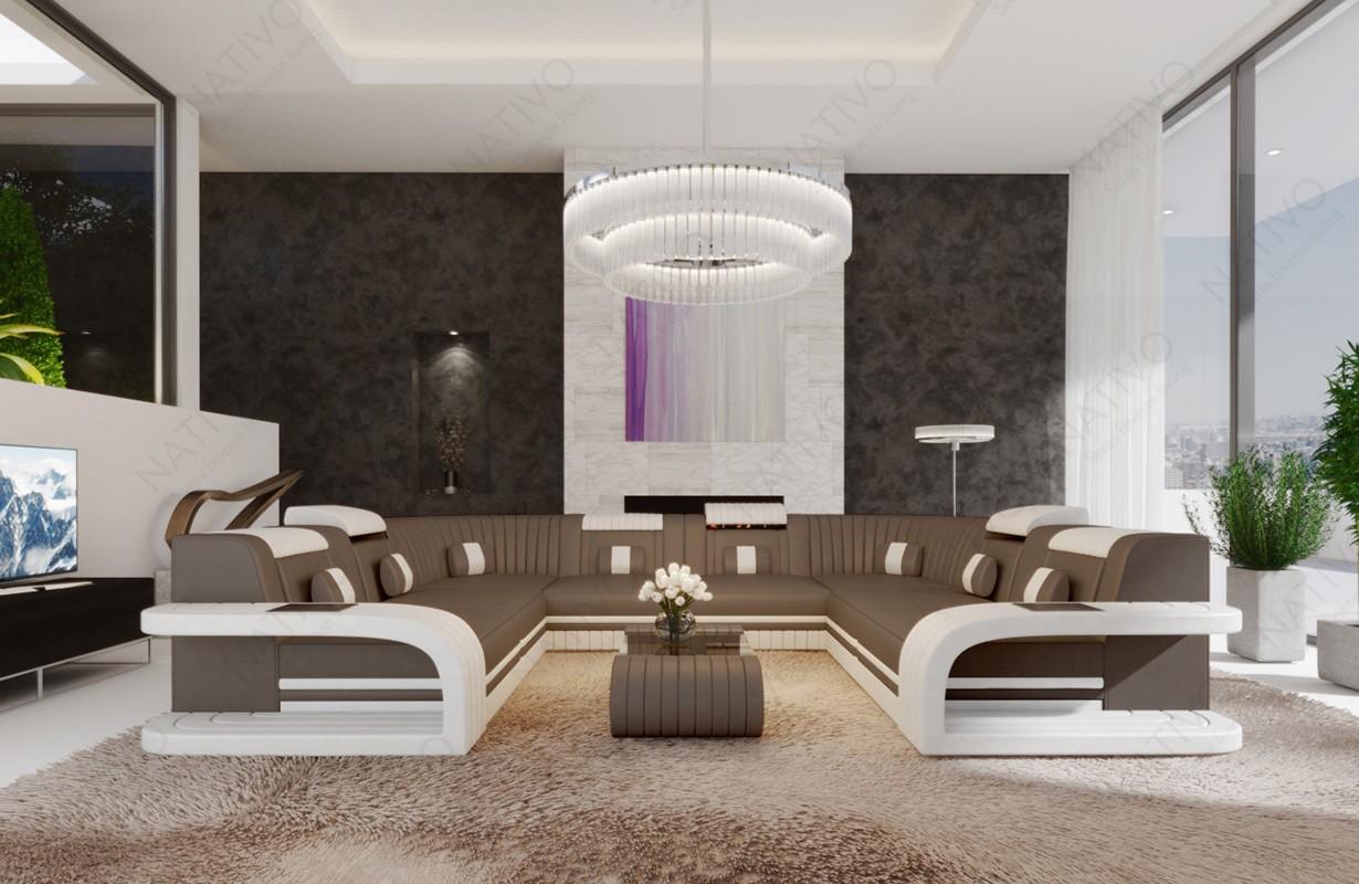 ROYAL CORNER U FORM dizájn kanapé LED világítással és USB csatlakozóval
