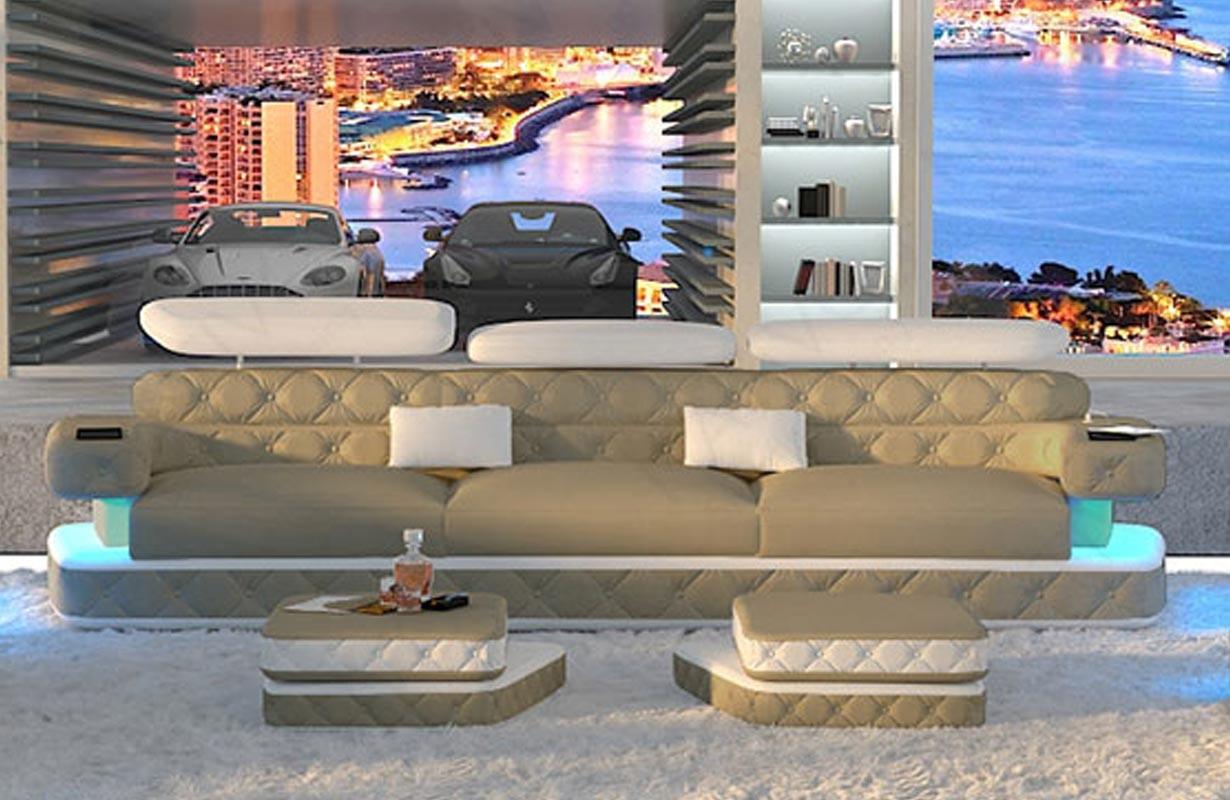 EXODUS 3 üléses dizájn kanapé LED világítással és USB csatlakozóval