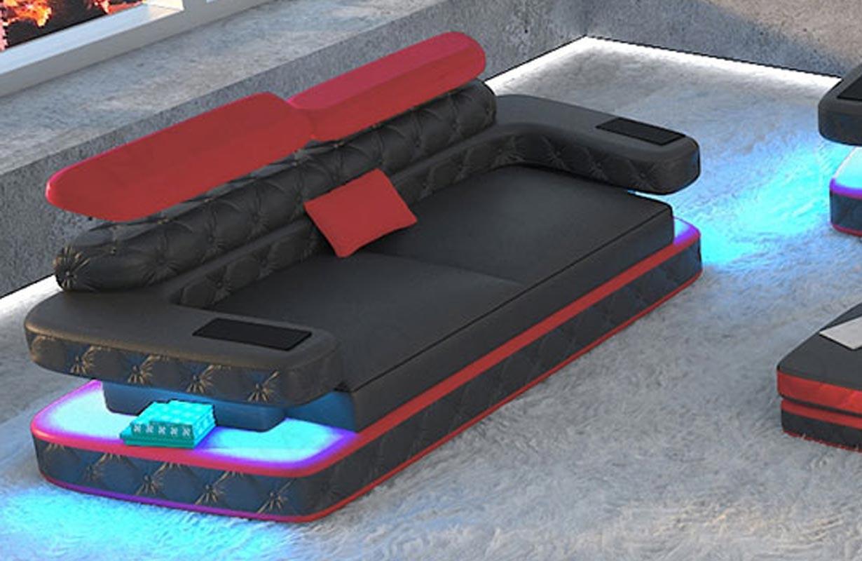EXODUS 2 üléses dizájn kanapé: LED világítással és USB csatlakozóval
