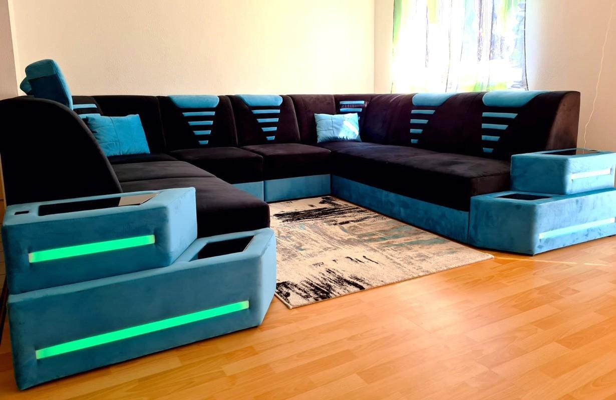 Fekete-kék dizájn kanapé LED világítással és USB csatlakozóval