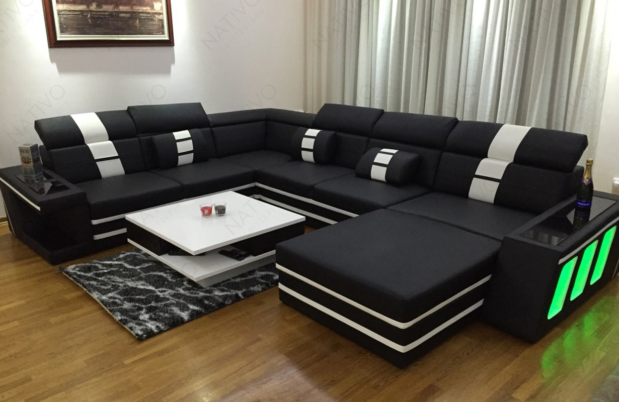 Modern dizájn kanapé LED világítással