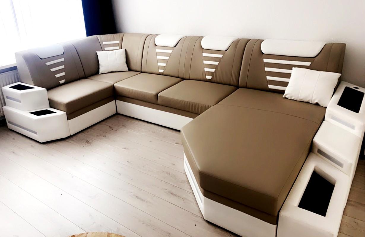 Dizájn kanapé LED világítással és USB csatlakozóval