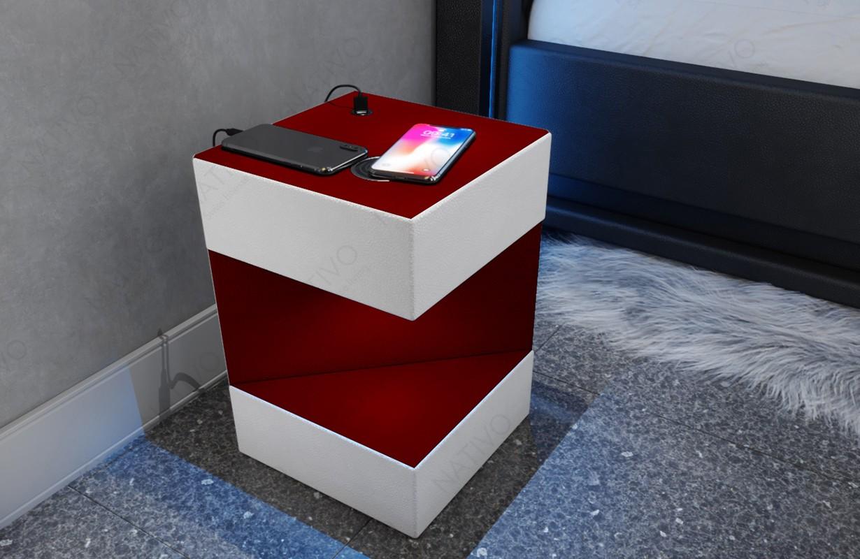 COSMOS dizájn éjjeliszekrény USB csatlakozóval és vezeték nélküli töltővel