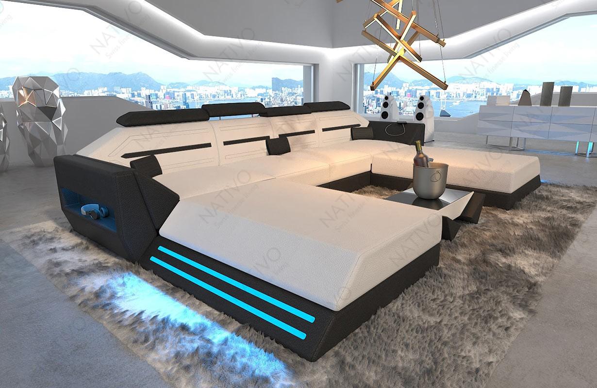 AVATAR XXL DUO dizájn kanapé LED világítással és USB csatlakozóval