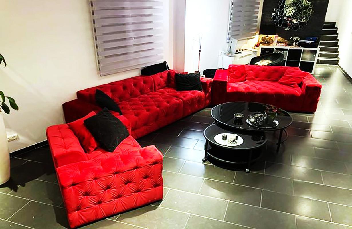 Piros dizájn kanapé szett