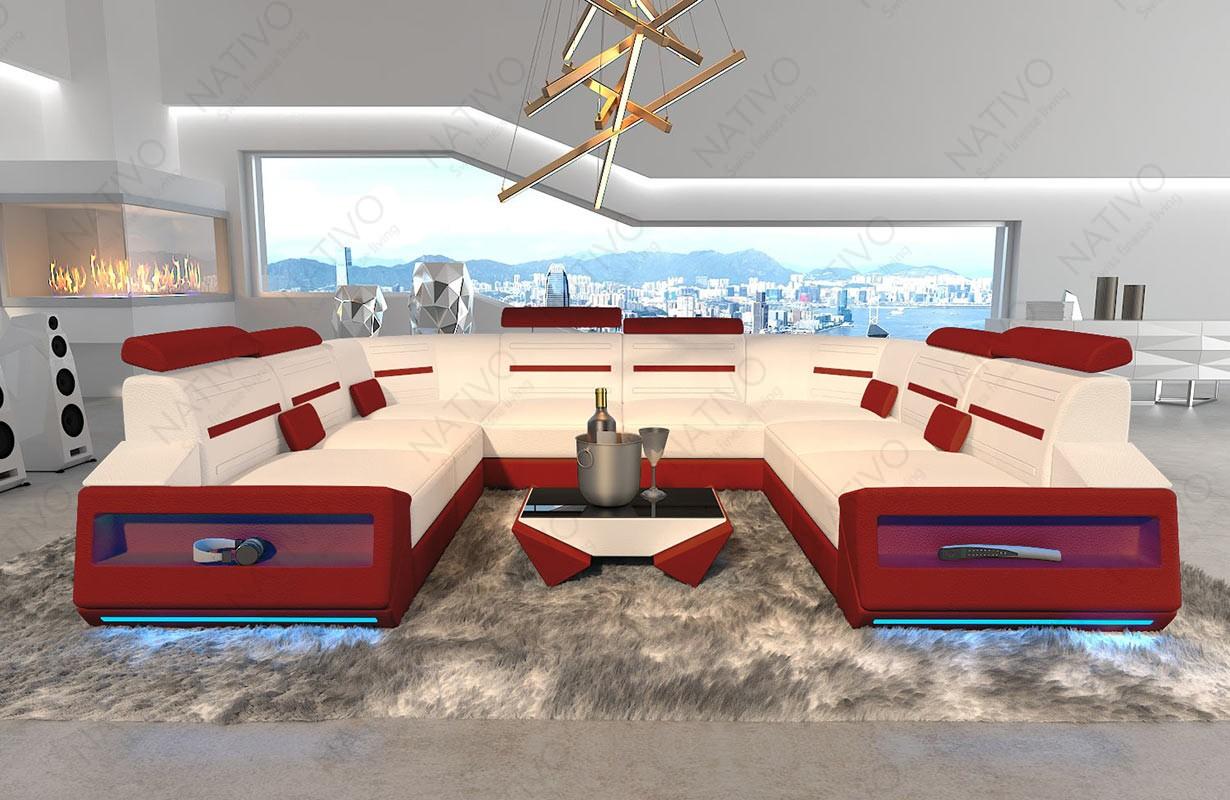 AVATAR CORNER U FORM dizájn kanapé LED világítással és USB csatlakozóval