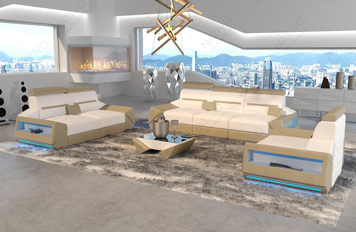 AVATAR 3+2+1 dizájn kanapé LED világítással és USB csatlakozóval