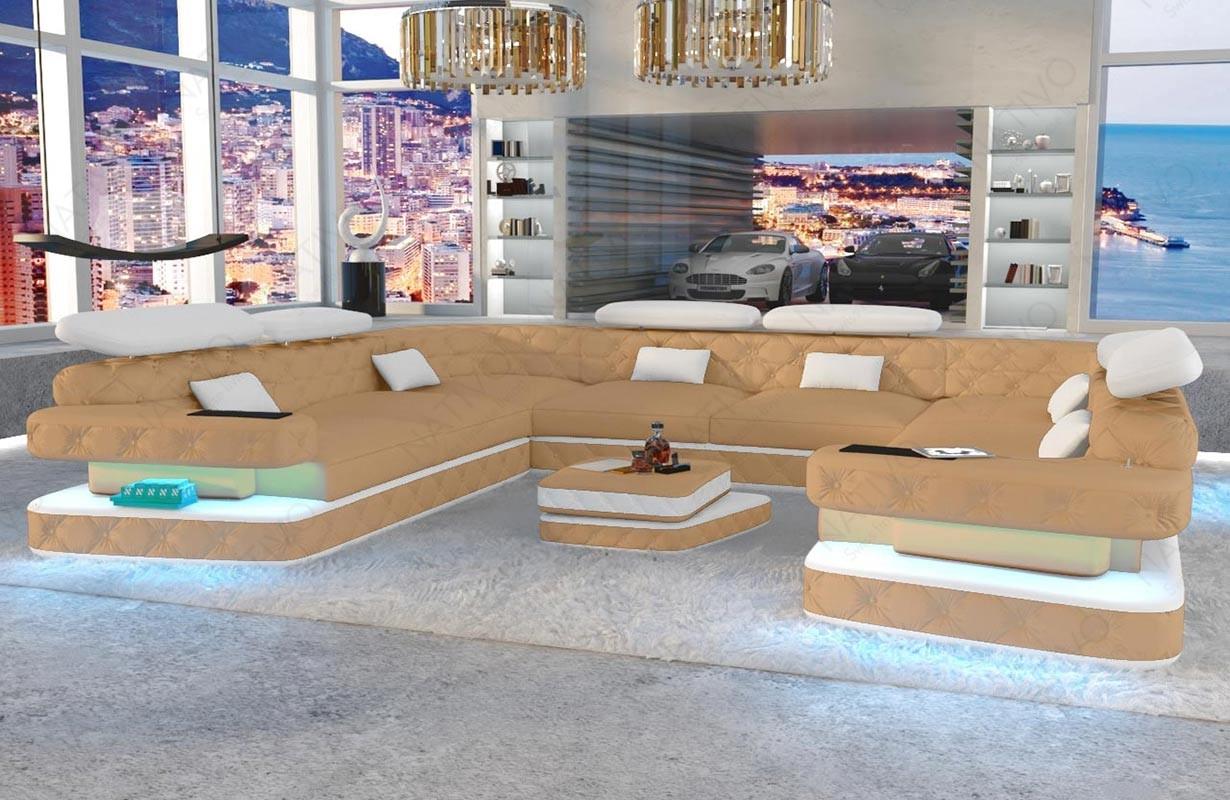 EXODUS CORNER U FORM dizájn kanapé LED világítással és USB csatlakozóval