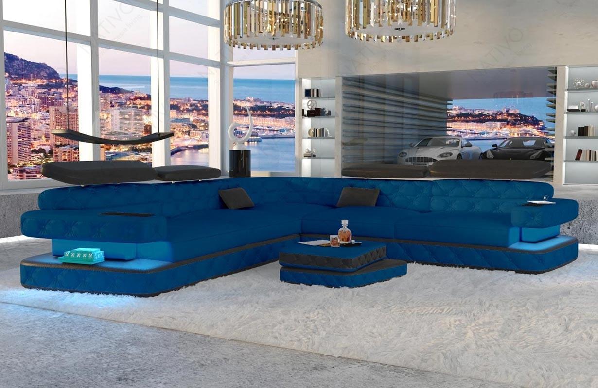 EXODUS CORNER dizájn kanapé LED világítással és USB csatlakozóval
