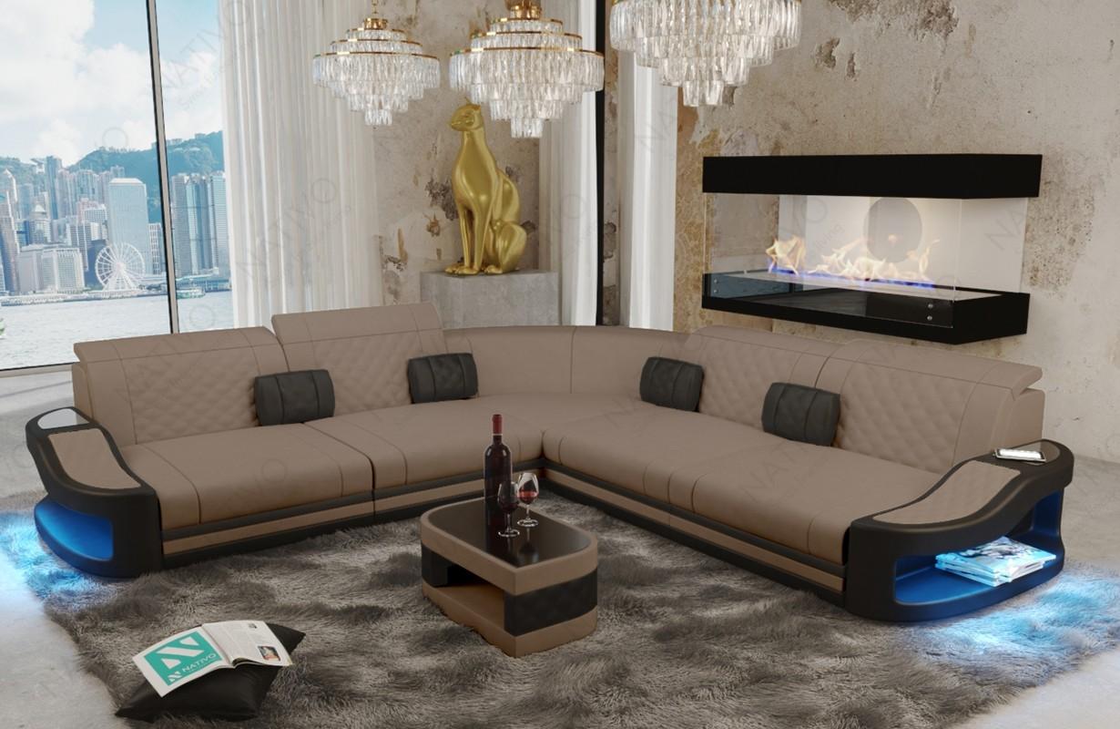 DIABLO CORNER dizájn kanapé LED világítással és USB csatlakozóval