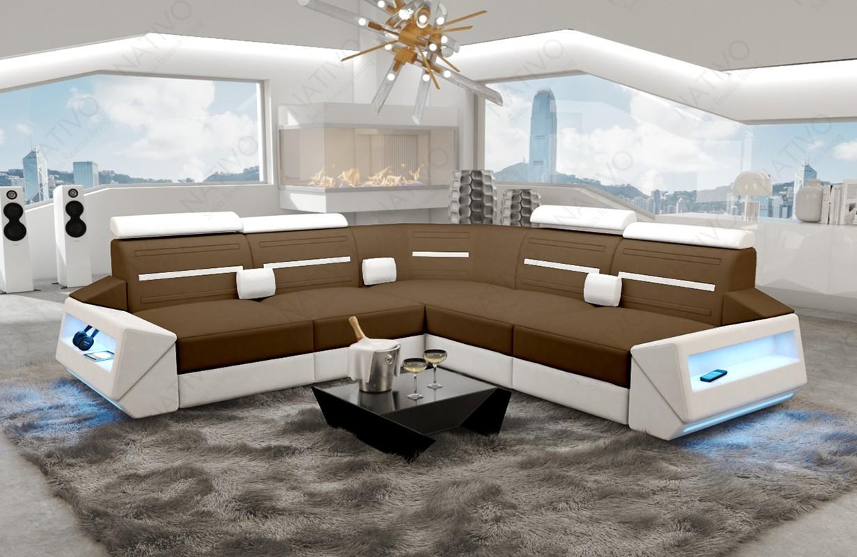 AVATAR CORNER dizájn kanapé LED világítással és USB csatlakozóval