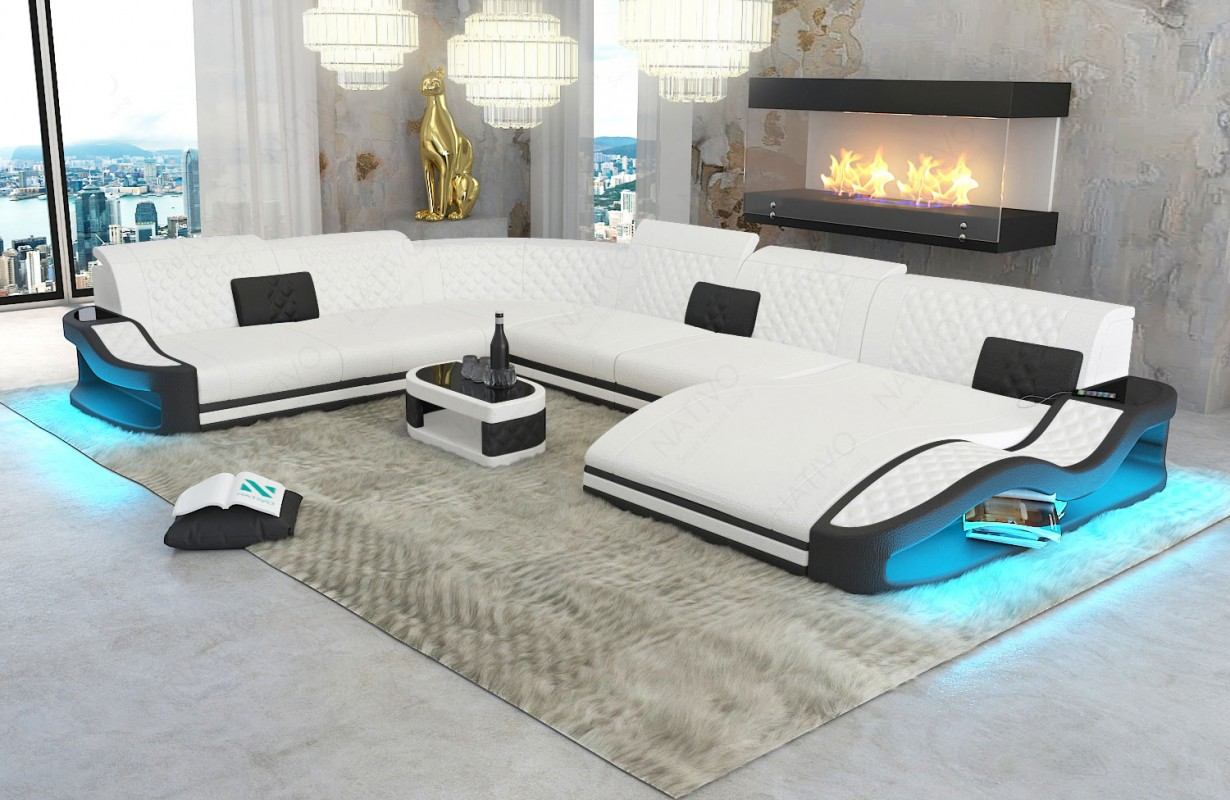 DIABLO XXL dizájn kanapé LED világítással és USB csatlakozóval