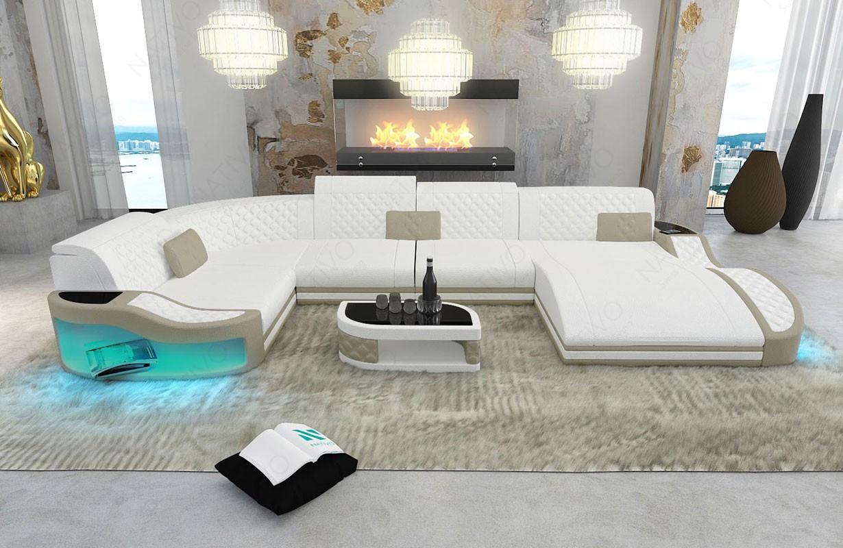 DIABLO XL dizájn kanapé LED világítással és USB csatlakozóval