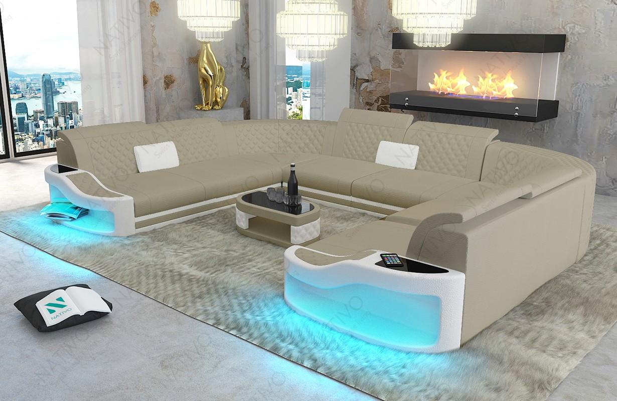 DIABLO CORNER U FORM dizájn kanapé LED világítással és USB csatlakozóval