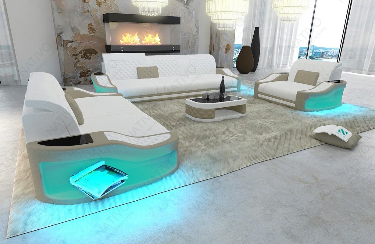 DIABLO 3+2+1 dizájn kanapé LED világítással és USB csatlakozóval