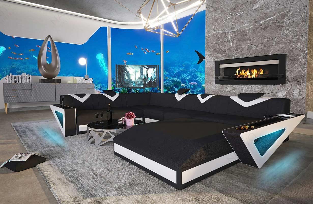 FALCO XXL dizájn kanapé LED világítással és USB csatlakozóval