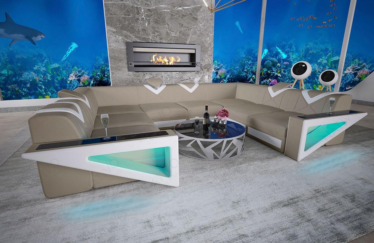 FALCO CORNER U FORM dizájn kanapé LED világítással és USB csatlakozóval