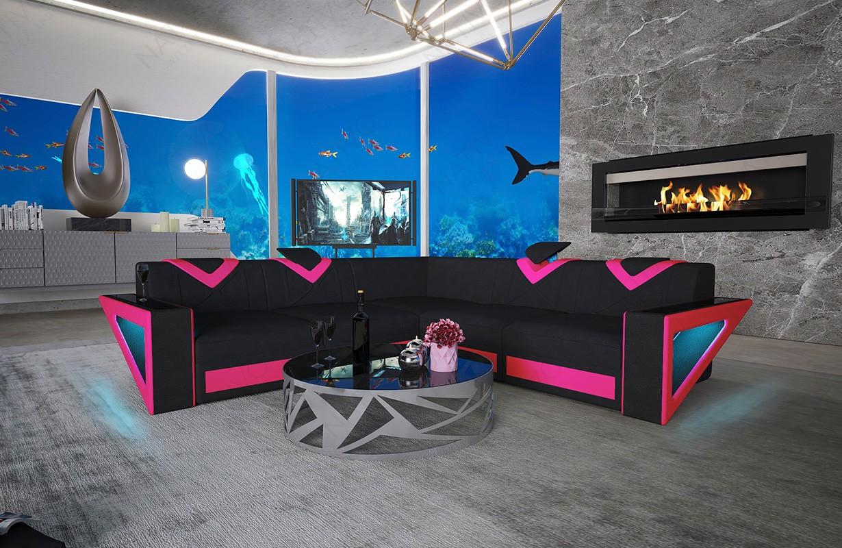 FALCO CORNER dizájn kanapé LED világítással és USB csatlakozóval