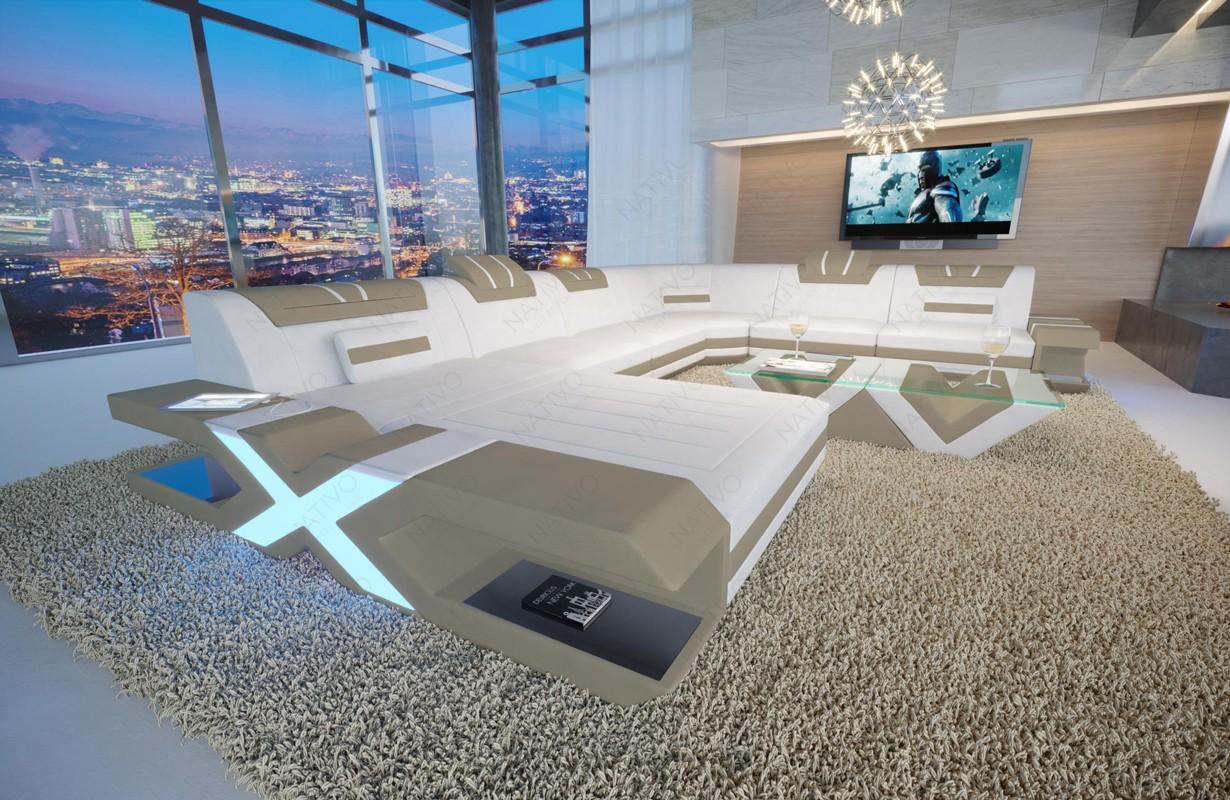MYSTIQUE XXL dizájn kanapé LED világítással és USB csatlakozóval
