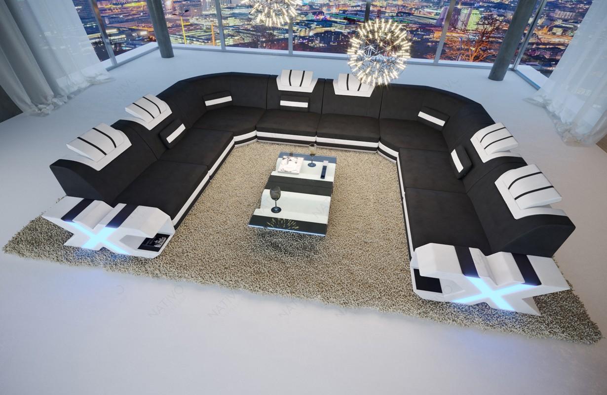 MYSTIQUE CORNER U FORM dizájn kanapé LED világítással és USB csatlakozóval